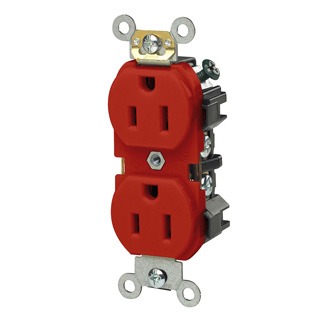 Duplex Receptacle Outlet, Heavy-Duty Industrial Specification Grade, Smooth Face, 15 Amp, 125 Volt, Side Wire,NEMA 5-15R, 2-Pole, 3-Wire, Self-Grounding - Red, 5242-R