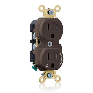 "Duplex Receptacle Outlet, Extra Heavy-Duty Industrial Specification Grade, Split-Circuit, One Outlet Marked ""Controlled"", Tamper-Resistant, Smooth Face, 15 Amp, 125 Volt, Back or Side Wire, NEMA 5-15R, 2-Pole, 3-Wire, Self-Grounding - Brown, 5262-1P"