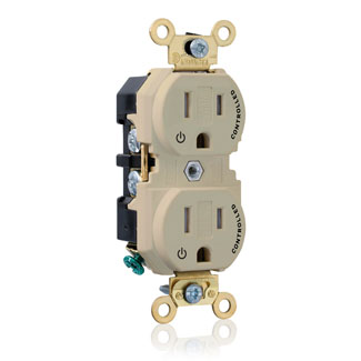 "Duplex Receptacle Outlet, Extra Heavy-Duty Industrial Specification Grade, Two Outlets Marked ""Controlled"", Tamper-Resistant, Smooth Face, 15 Amp, 125 Volt, Back or Side Wire, NEMA 5-15R, 2-Pole, 3-Wire, Self-Grounding - Ivory, 5262-2PI"