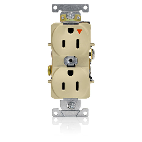 Isolated Ground Duplex Receptacle Outlet, Heavy-Duty Industrial Specification Grade, Smooth Face,15 Amp, 125 Volt, Back or Side Wire, NEMA 5-15R, 2-Pole, 3-Wire, Self-Grounding - Ivory, 5262-IGI