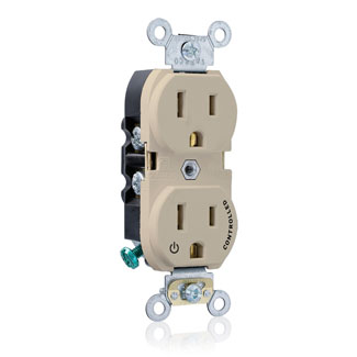 "Duplex Receptacle Outlet, Heavy-Duty Industrial Specification Grade, Split-Circuit, One Outlet Marked ""Controlled"", Smooth Face, 15 Amp, 125 Volt, Back or Side Wire, NEMA 5-15R, 2-Pole, 3-Wire, Self-Grounding - Ivory, 5262-S1I"