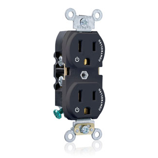 "Duplex Receptacle Outlet, Heavy-Duty Industrial Specification Grade, Two Outlets Marked ""Controlled"", Smooth Face, 15 Amp, 125 Volt, Back or Side Wire, NEMA 5-15R, 2-Pole, 3-Wire, Self-Grounding - Black, 5262-S2E"