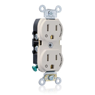"Duplex Receptacle Outlet, Heavy-Duty Industrial Specification Grade, Two Outlets Marked ""Controlled"", Smooth Face, 15 Amp, 125 Volt, Back or Side Wire, NEMA 5-15R, 2-Pole, 3-Wire, Self-Grounding - Light Almond, 5262-S2T"
