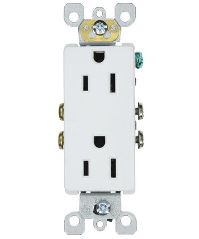 15 Amp 125 Volt, Decora Duplex Receptacle, Residential Grade, Self Grounding, Various Colors, 5325-S - Leviton - 1