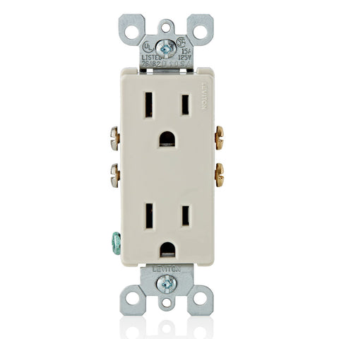 15-Amp 125-Volt, Decora Duplex Receptacle, Residential Grade, Grounding, Various Colors, 5325