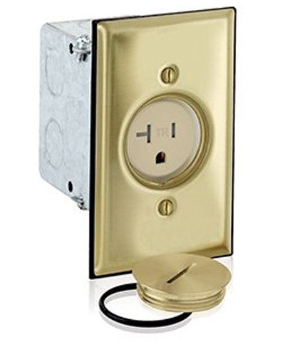 1-Gang Single Receptacle Floor Box, Tamper-Resistant, Brass Finish, 20 Amp, 125 Volt, 5349-TFB - Leviton