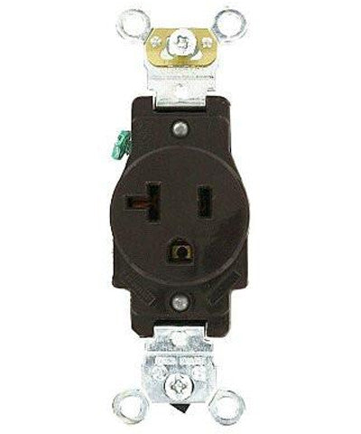 20 Amp, Single Receptacle, Industrial Heavy Duty Grade, Straight Blade, 125 Volt, Self Grounding, Brown/Gray/Ivory/Red/Light Almond/White, 5361 - Leviton - 1