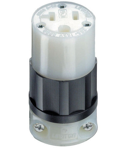 20 Amp, 125 Volt, NEMA 5-20R, 2P, 3W, Connector, Straight Blade, Industrial Grade, Grounding, Black & White, 5369-C - Leviton