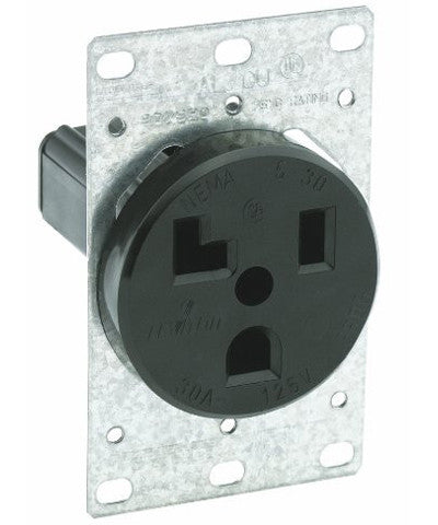 30 Amp, 125 Volt, Flush Mounting Receptacle, Industrial Grade, Straight Blade, Grounding, Black, 5371 - Leviton