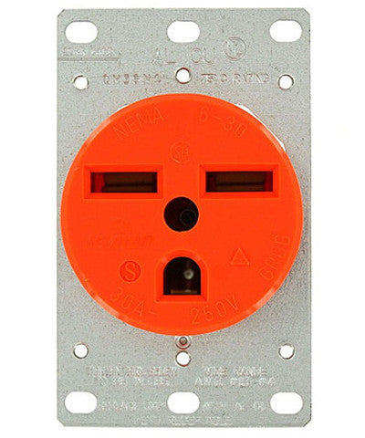 30 Amp, 250 Volt, Flush Mounting Receptacle, Straight Blade, Industrial Grade, Isolated Ground, Orange, 5372-IG - Leviton