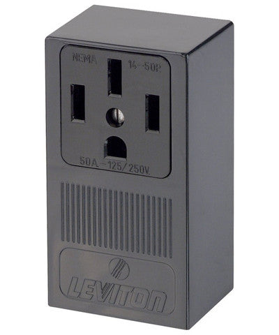 50 Amp, 125/250 Volt, Surface Mounting Receptacle, Straight Blade, NEMA 14-50R, 3P, 4W, Industrial Grade, Grounding, Side Wired, Steel Strap, 55050 - Leviton