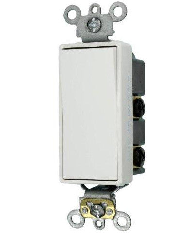 20 Amp, Decora Plus Rocker Double-Pole AC Quiet Switch, 120/277 Volt, Commercial Grade, Back & Side Wired, Self Grounding, 5622-2 - Leviton - 1