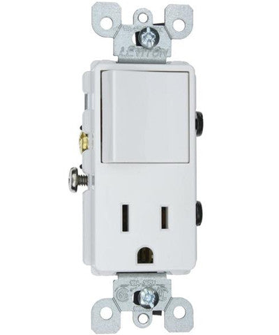 15 Amp, 120 Volt, Decora Brand Style Single-Pole, AC Combination Switch, Commercial Grade, Grounding, White, 5625-W - Leviton