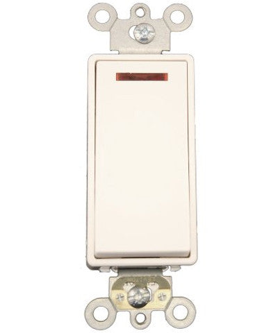 20-Amp, 120-Volt, Decora Plus Rocker Pilot Light, Illuminated On, Req. Neutral Single-Pole AC Quiet Switch, Commercial Grade, Self Grounding, 5628-2 - Leviton - 1