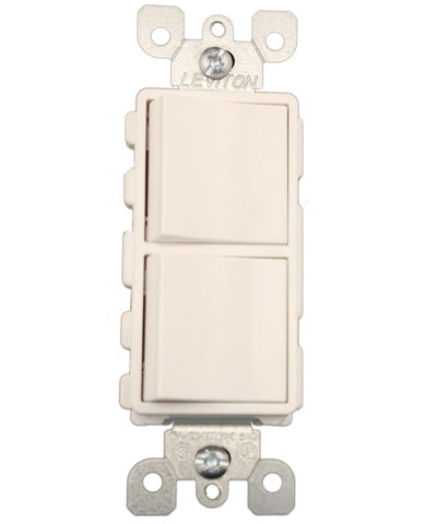 15 Amp, 120/277 Volt, Decora 3-Way / 3-Way AC Combination Switch, Commercial Grade, Grounding, Side Wired, 5643