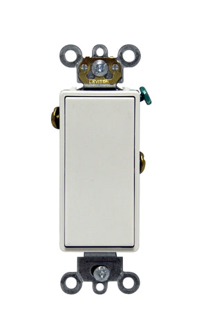 15 Amp, 120/277 Volt, Decora Plus Rocker Single-Pole AC Quiet Switch, Commercial Spec Grade, Self Grounding, Back & Side Wired, - White, 05691-202-02W