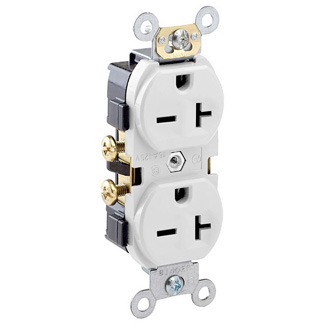 Duplex Receptacle Outlet, Commercial Specification Grade, Indented Face, 20 Amp, 250 Volt, Side Wire, NEMA 6-20R, 2-Pole, 3-Wire, Self-Grounding, White, 5822-W