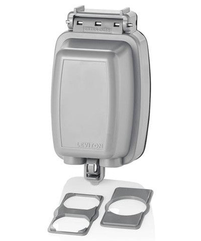 While-in-Use Cover for GFCI/Decora, Duplex & Single Outlet, Vertical, Gray, 5980-UGY - Leviton