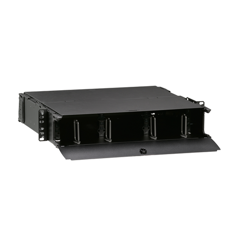 1000i SDX 2RU Distribution and Splice Enclosure, empty (no sliding tray); Accepts up to (6) SDX adapter plates or (6) SDX MTP cassettes and accepts up to (6) splice trays, 5R2UM-F06