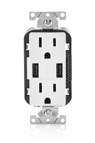 USB Charger/Tamper-Resistant Duplex Receptacle, 15-Amp, 2-Pack, T5632 - Leviton - 2