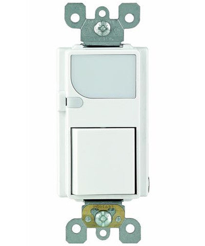 Combination Decora Switch with LED Guide Light, 15A-120VAC, Single-Pole, Neutral Required, White, 6526-W - Leviton