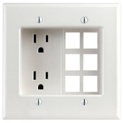 15 Amp, 2-Gang Recessed Device with Duplex Receptacle and 6-Port Quickport Plate, 690