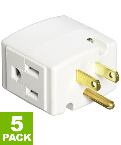 15 Amp, 125 Volt, Triple Cube Grounding Adapter 5-Pack, 692 - Leviton