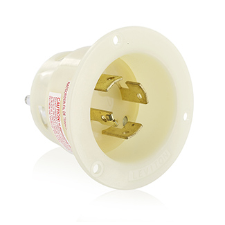 20/10 Amp, 250 Volt DC/600 Volt AC, NEMA Non-NEMA, 3P, 4W, Flanged Inlet Locking Receptacle, Industrial Grade, Grounding - WHITE, 7408-GC