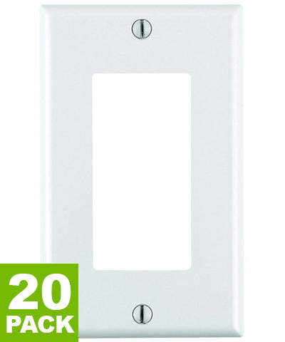 1-Gang Decora/GFCI Device Decora Wall Plate, Standard Size, Thermoset, Device Mount, White, 20-Pack, 80401-WMP