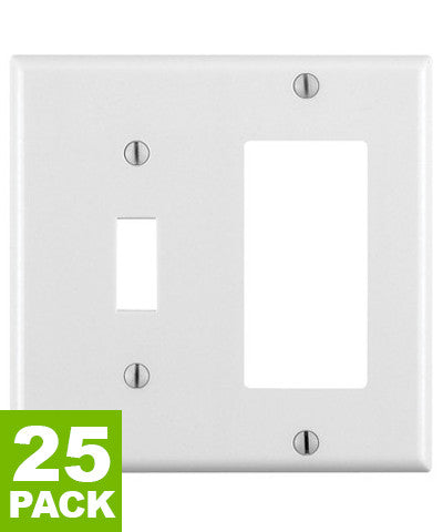 2-Gang 1-Toggle 1-Decora/GFCI Device Combination Wall Plate, Standard Size, Thermoset, Device Mount, 25-Pack, 80405 - Leviton - 1