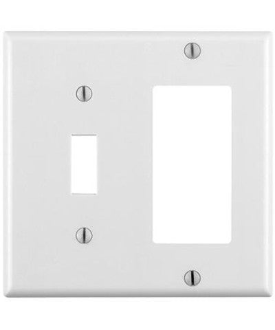 2-Gang 1-Toggle 1-Decora/GFCI Device Combination Wall Plate, Standard Size, Thermoset, Device Mount, 80405 - Leviton