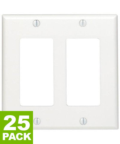 2-Gang Decora/GFCI Device Decora Wall Plate, Standard Size, Thermoset, Device Mount, 25-Pack, 80409 - Leviton - 7