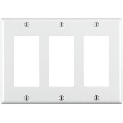 3-Gang Decora/GFCI Device Decora Wall Plate, Standard Size, Thermoset, Device Mount, White, 80411-W - Leviton