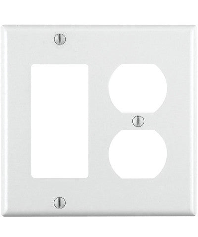 2-Gang, 1-Duplex 1-Decora/GFCI Device, Combination Wall Plate, Standard Size, Thermoset, Device Mount, White, 80455-W - Leviton
