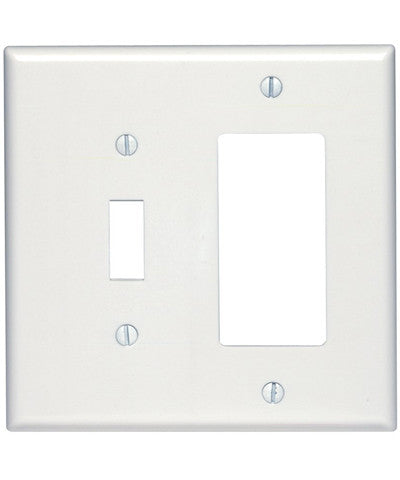 2-Gang 1-Toggle 1-Decora/GFCI Device Combination Wall Plate, Midway Size, Thermoset, Device Mount, 80605 - Leviton