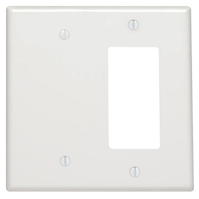 2-Gang 1-Blank 1-Decora/GFCI Device Combination Wallplate, Midway Size, Thermoset, 80608