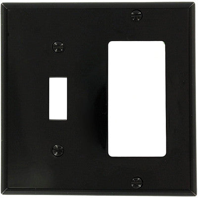 2-Gang, 1-Toggle 1-Decora/GFCI Device Combination Wall Plate, Black, 80707-E - Leviton