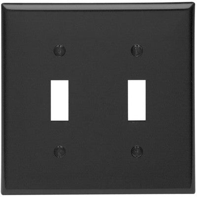 2-Gang Toggle Device Switch Wall Plate, Standard Size, Thermoplastic Nylon, Device Mount, Black, 80709-E - Leviton