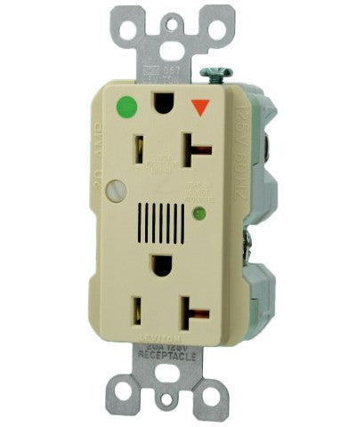 20 Amp 125 Volt Decora Plus Duplex Receptacle w/ Indicator Light & Audible Alarm, Ivory, 8380-IGI - Leviton
