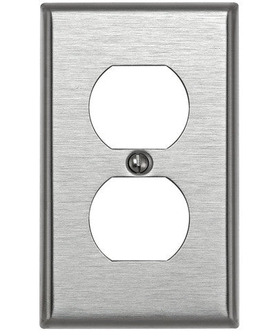 1-Gang Duplex Device Receptacle Wall Plate, Standard Size, Device Mount, Stainless Steel, 84003 - Leviton