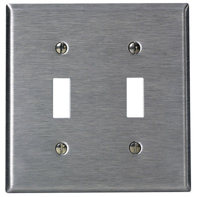 2-Gang Toggle Device Switch Wall Plate, Standard Size, Device Mount, Stainless Steel, 84009-40 - Leviton