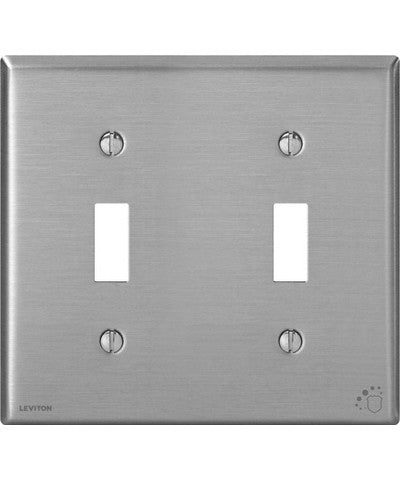 2-Gang Toggle Device Switch Wall Plate, Standard Size, Antimicrobial Treated Powder Coated Stainless Steel, 84009-A40 - Leviton