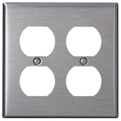 2-Gang, Duplex Device Receptacle Wall Plate, Standard Size, Device Mount, Stainless Steel, 84016-40 - Leviton