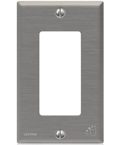 Antimicrobial Treated Decora Wall Plate, 1 Gang, Standard Size, Powder Coated Stainless Steel, 84401-A40 - Leviton