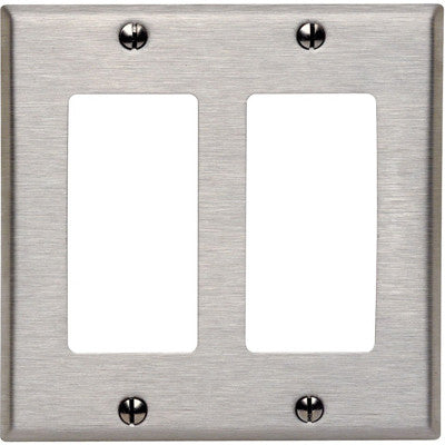 2-Gang Decora/GFCI Device Decora Wall Plate, Device Mount, Stainless Steel, 84409-40 - Leviton
