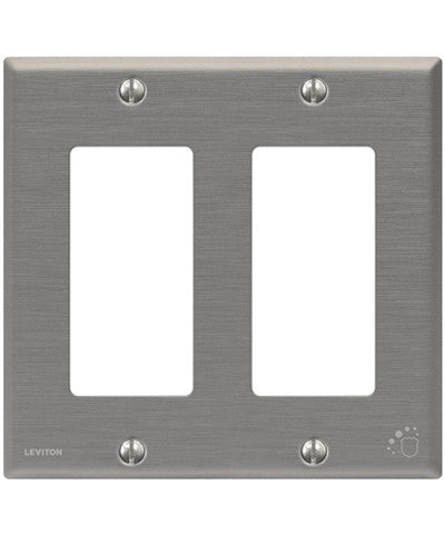 Antimicrobial Treated Decora Wall Plate, 2 Gang, Standard Size, Powder Coated Stainless Steel, 84409-A40 - Leviton
