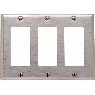 3-Gang Decora/GFCI Device Decora Wall Plate, Device Mount, Stainless Steel, 84411-40 - Leviton