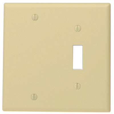 2-Gang 1-Toggle 1-Blank Device Combination Wall Plate, Standard Size, Thermoset, Box Mount, Ivory, 86006 - Leviton