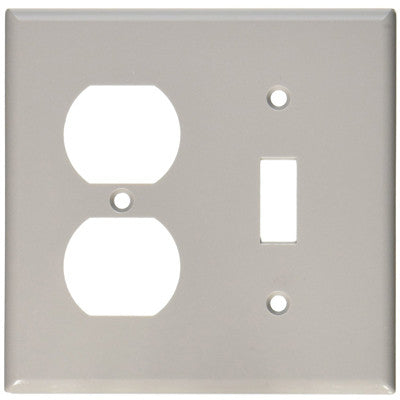 2-Gang 1-Toggle 1-Duplex Device Combination Wall Plate, Standard Size, Thermoset, Device Mount, Gray, 87005 - Leviton