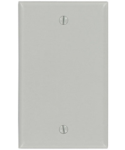 1-Gang, Blank, Box Mounted, Standard Nylon Wall Plate, Gray, 87014